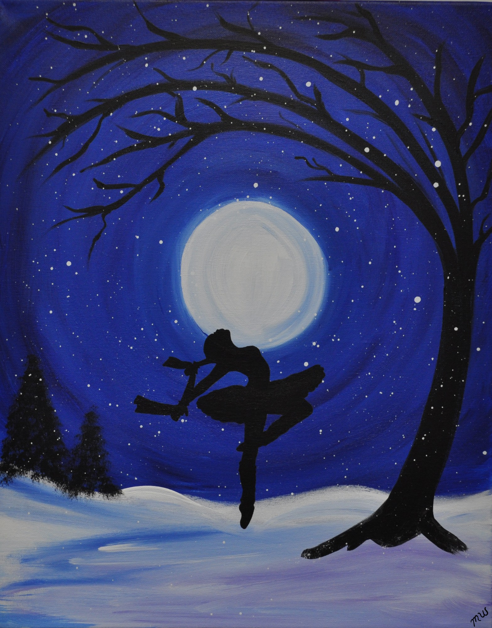 Throwback thursday painting party moonlight ballet jan for Fairy painting easy