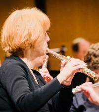 Flute Choir leader, Rachel Eldridge.