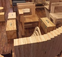 """Josshua Coggeshall and Department of Architecture Students, BSU, """"Plywood Chairs + Simple Toolboxes,"""