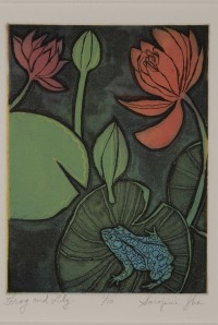 """""""Frog and Lily,"""" intaglio print by Sarojini Johnson at Gordy's"""