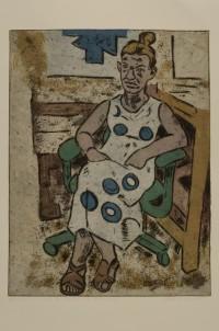 """""""Topknots and Polka Dots,"""" woodcut by David Johnson at Gordy's"""