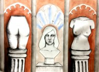 Triptych in conte and charcoal by Michelle Shanklin, on display at The Artist Within